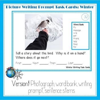 Seasons Picture Prompt Writing Task Card Bundle
