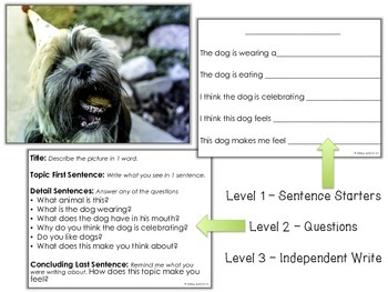 Picture Prompts 1 - Leveled Journal Writing for Special Education - Pack 1