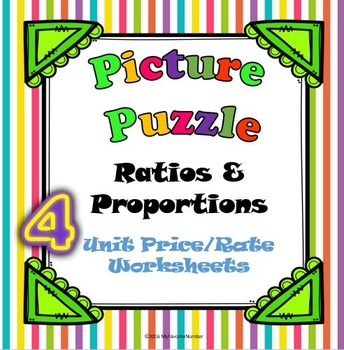 Picture Puzzle 4 Unit Price/Rate Worksheets...Puzzles + Ar