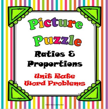 Picture Puzzle Unit Rate Word Problems...Puzzles + Art + Numbers = AWESOME!
