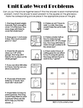 Picture Puzzle Unit Rate Word Problems Puzzles Art Numbers