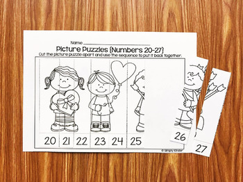Picture Puzzles February for Math & Literacy