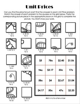 Picture Puzzles Unit Price 2 Worksheets...Puzzles + Art + Numbers = AWESOME!