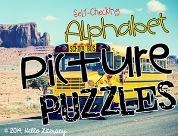 Alphabet Picture Puzzles:Word Work Center - 26 Self-Checking Puzzles