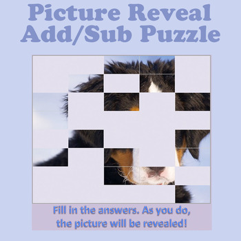 Picture Reveal Add/Sub Math Puzzle