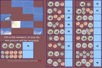 Picture Reveal Counting Coins Puzzle