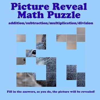 Picture Reveal Math Puzzle (add/sub/mult/div)
