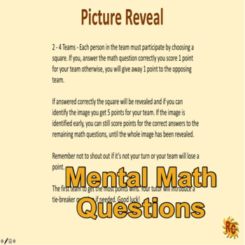 Maths - Picture Reveal Game (Sports Images)