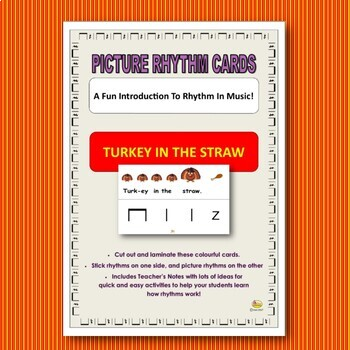 "Picture Rhythm Cards - THANKSGIVING - ""TURKEY IN THE STRAW"""