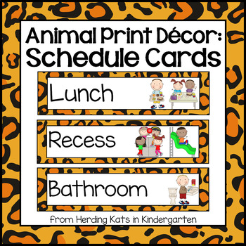 Picture Schedule Cards: Animal Print Classroom Decor