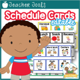 Picture Schedule Cards with Times - Editable Pre-K Preschool