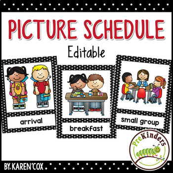 Picture schedule editable pre k preschool by karen for Preschool classroom schedule template