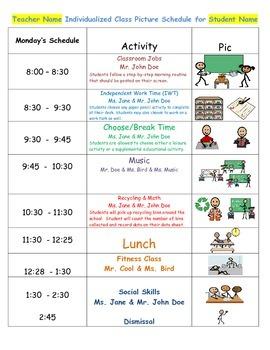 Autism Picture Schedule Sample