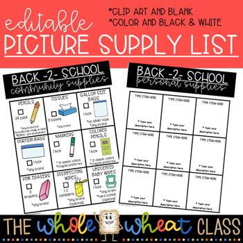 Picture School Supply List- Editable/Customizable