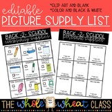 Picture School Supply List- Editable/Customizable