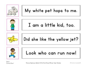 Picture-Sentence Match: CVC Words & Sight Words (bonus Writing Practice sheets)