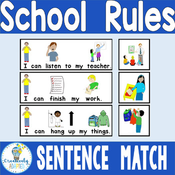 PICTURE-SENTENCE MATCH: School Rules (Autism/Special Education)