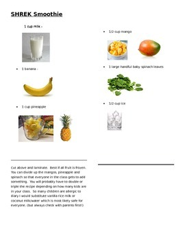 Picture Shrek Smoothie recipe card
