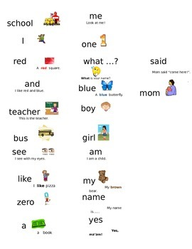 Picture Sight Word Sticker Labels