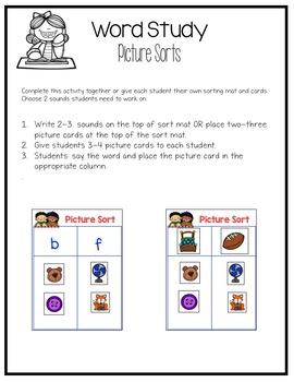 Picture Sort Cards for Jan Richardson's Guided Reading Framework