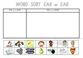 Picture Sort Cut n Paste: EAR as in bear & EAR as in beard