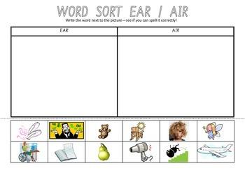 Picture Sort Cut n Paste: EAR as in pear & AIR as in hair