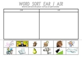 Picture Sort Cut n Paste: EAR as in pear & AIR as in hair