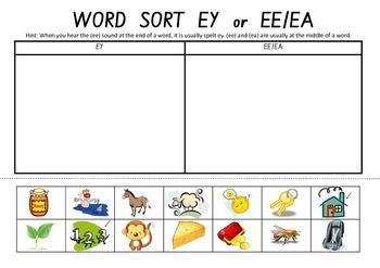 Picture Sort Cut n Paste: EY or EA or EE