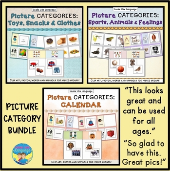 Category Sorting Activities Bundle: Picture & Word Cards,