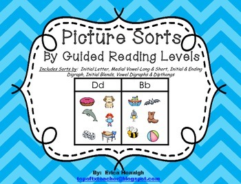 Picture Sorts for Word Study by Guided Reading Levels for Intervention