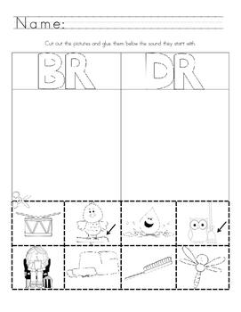 Picture Sound Sort Blends br- dr- fr- gr- pr- tr-