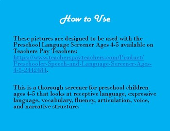Picture Stimuli for Preschool Screener Ages 4-5