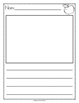 Picture Story Writing Paper: Back-to-School (French)