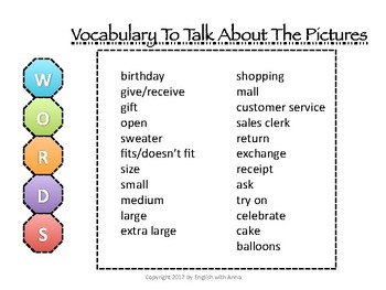 Picture Story for ESL Conversation & Writing - Shopping: Returns/Exchanges