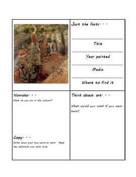 Picture Study Worksheets (Pissarro, Renoir, Fragonard)
