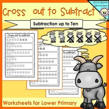 Picture Subtraction - Subtraction to 10 - Subtracting up to Ten - Worksheets