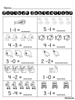 Picture Subtraction 0-5 Pack with Differentiated Worksheets