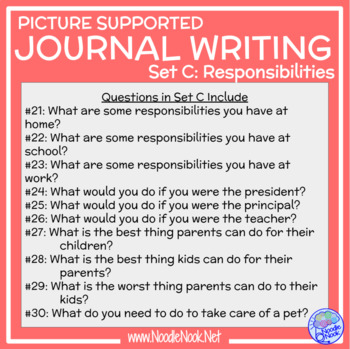 Picture Supported Writing Prompt for LIFE Skills students- RESPONSIBILITIES