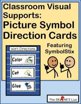 Picture Symbol Direction Cards-- Visual prompts for classroom work behaviors