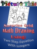 Picture This Grid Drawing: Two Step Equation Puzzle Worksheet