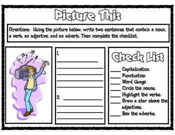 Picture This Parts of Speech Printable