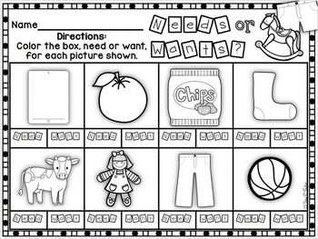 Picture This:  Wants and Needs Picture Sort Center with Assessment Printables