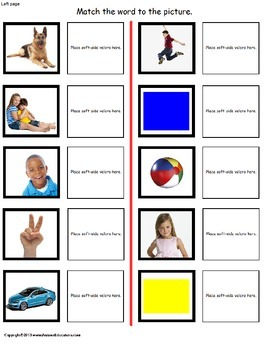 Picture To Word Match FILE FOLDER Activity for Autism/Special Education