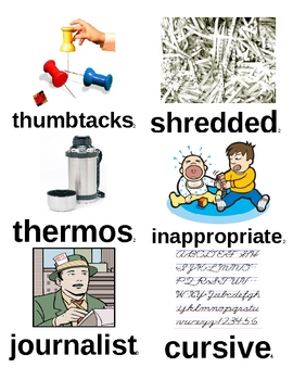 """Picture Vocabulary Cards for """"The Landry News"""" Read Aloud Word Wall"""