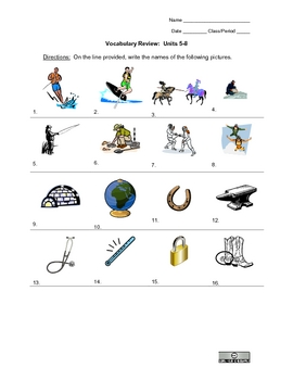 Picture Vocabulary Review: Units 5-8