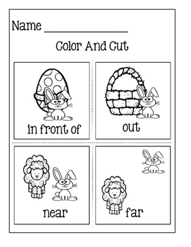 Picture Word Cards For Kids To Make ~Easter Positional Words