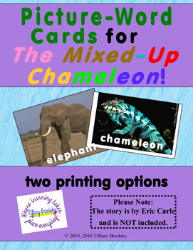 Picture-Word Cards for The Mixed-Up Chameleon; Great for ESOL & Primary