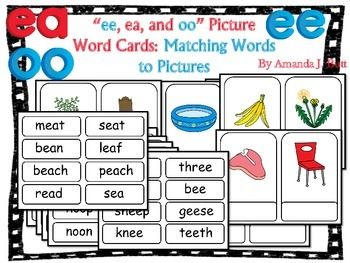 Vowel Teams Picture Word Center Activity:  ee, ea, oo - Fi