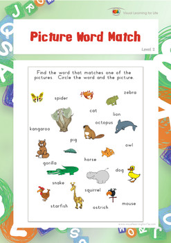Picture Word Match (Visual Perception Worksheets)