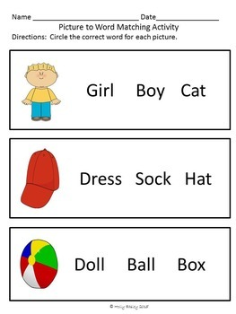 Picture Word Match for Special Education, Autism or Early Childhood - Set 2